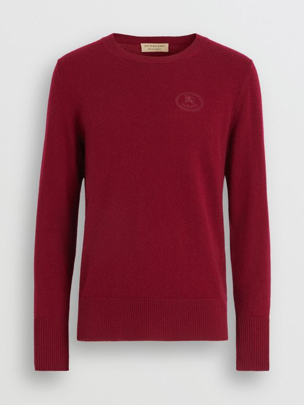 Embroidered Logo Cashmere Sweater in Claret - Men | Burberry Hong Kong - cell image 3