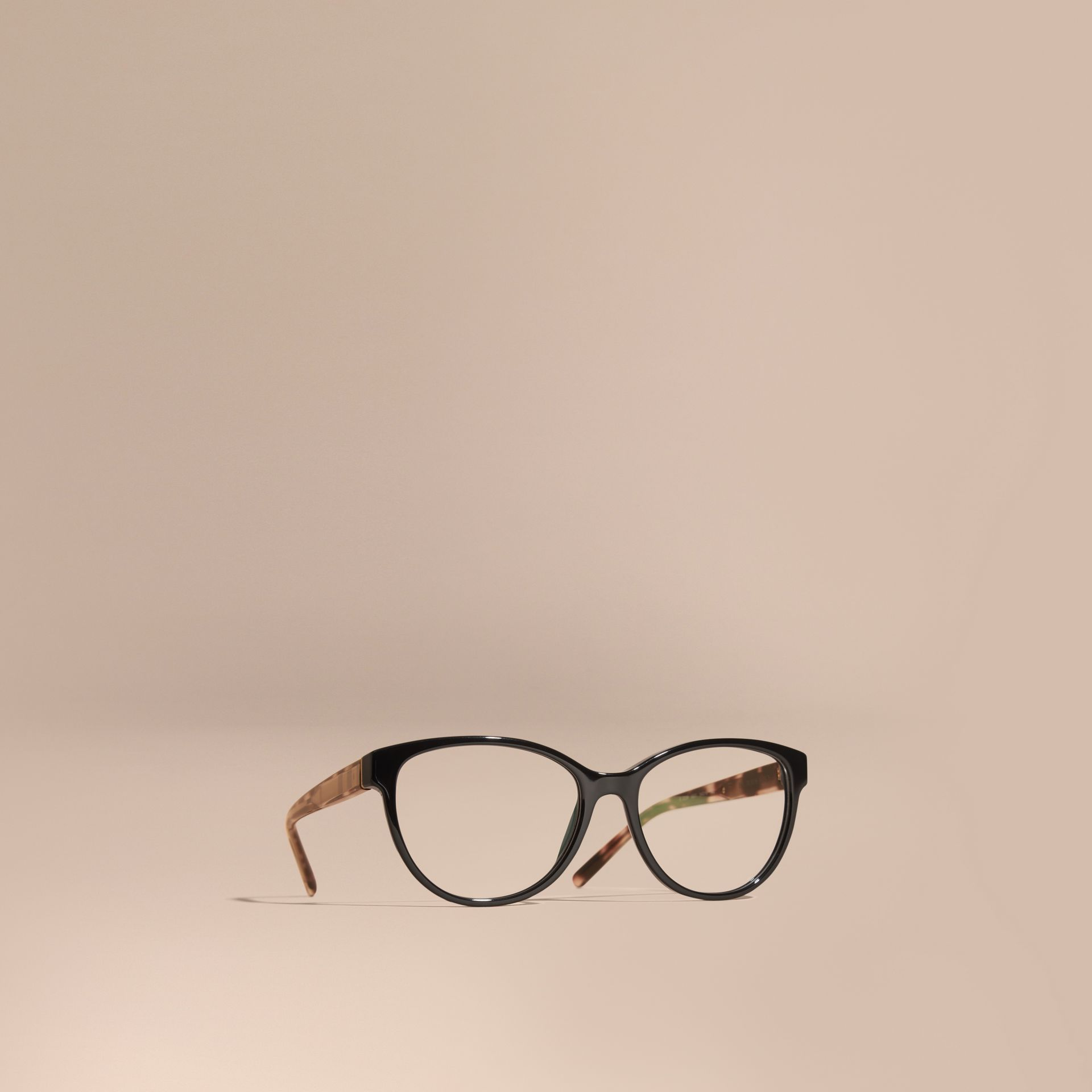 Black Check Detail Round Optical Frames Black - gallery image 1