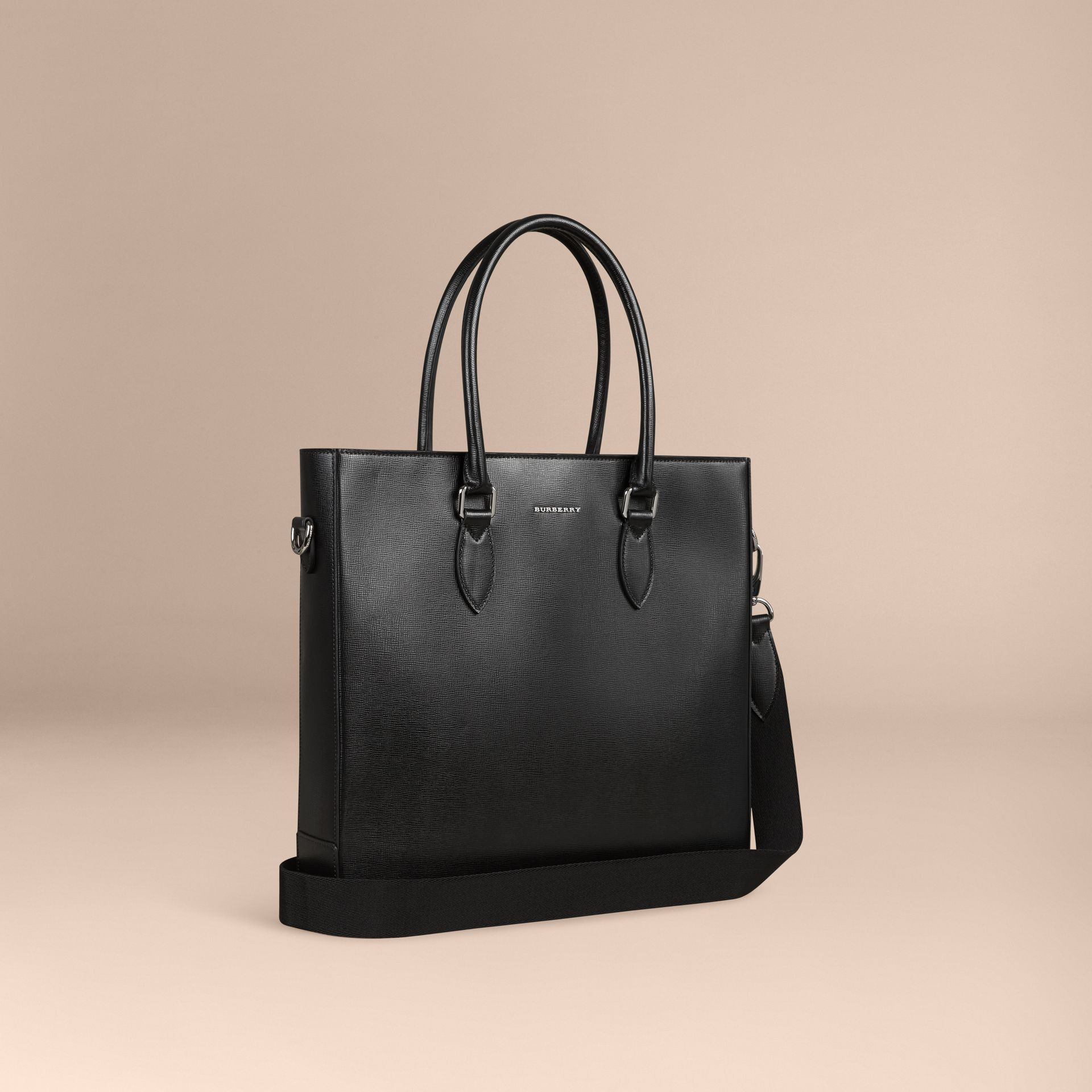 London Leather Tote Bag in Black - Men | Burberry - gallery image 1