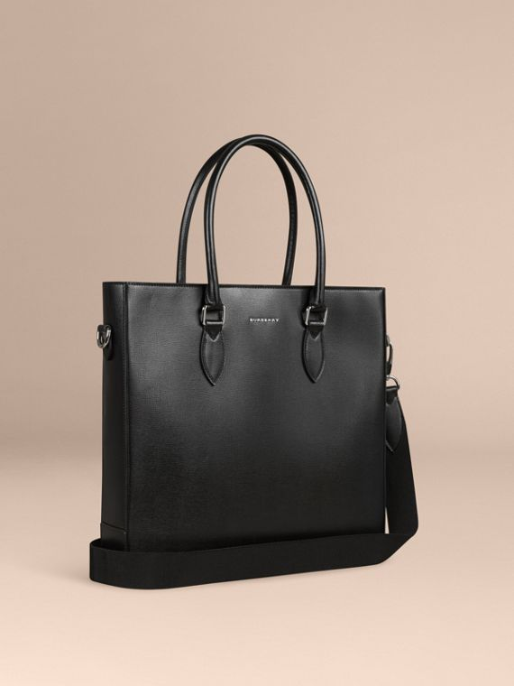 London Leather Tote Bag in Black