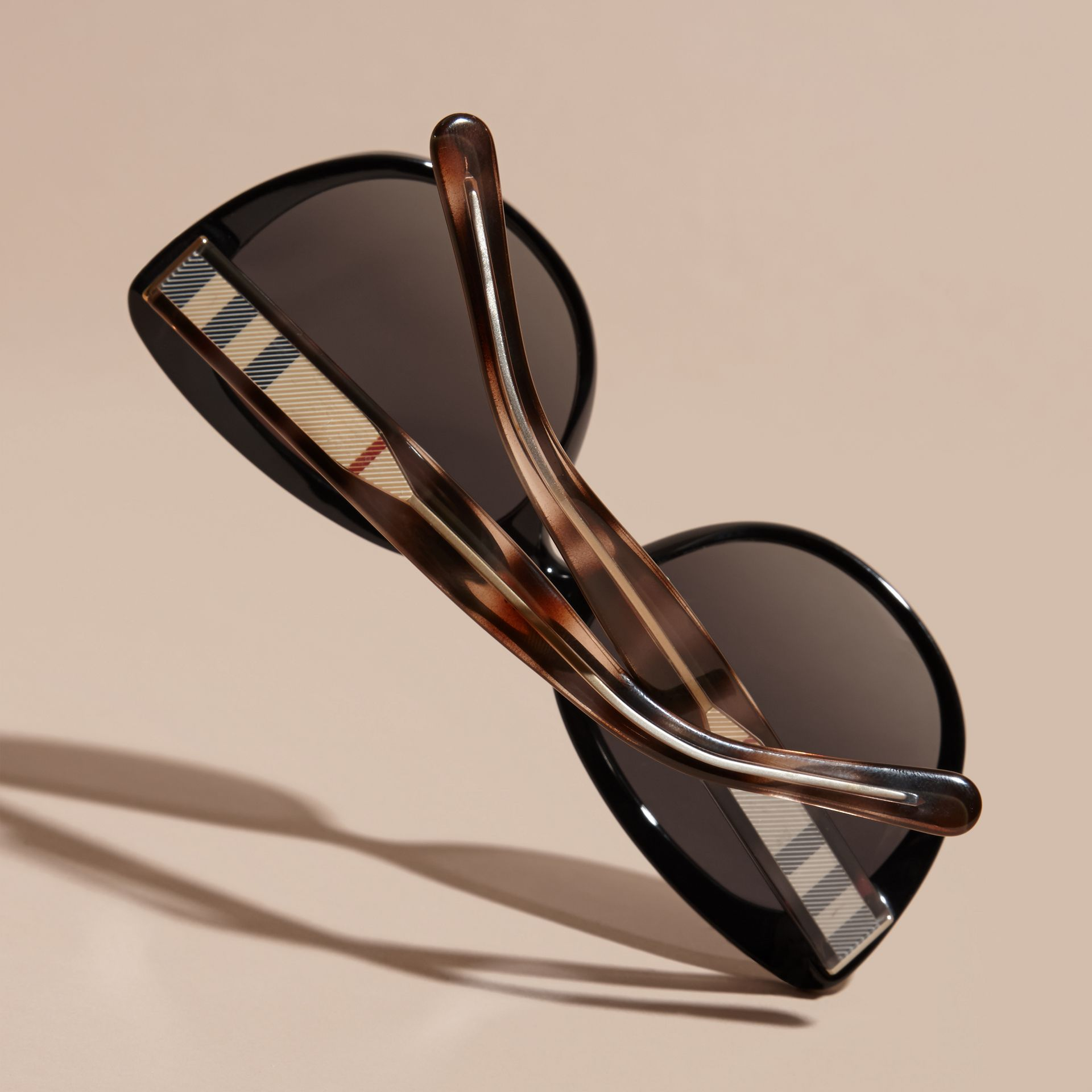 Check Detail Cat-eye Polarised Sunglasses - gallery image 4