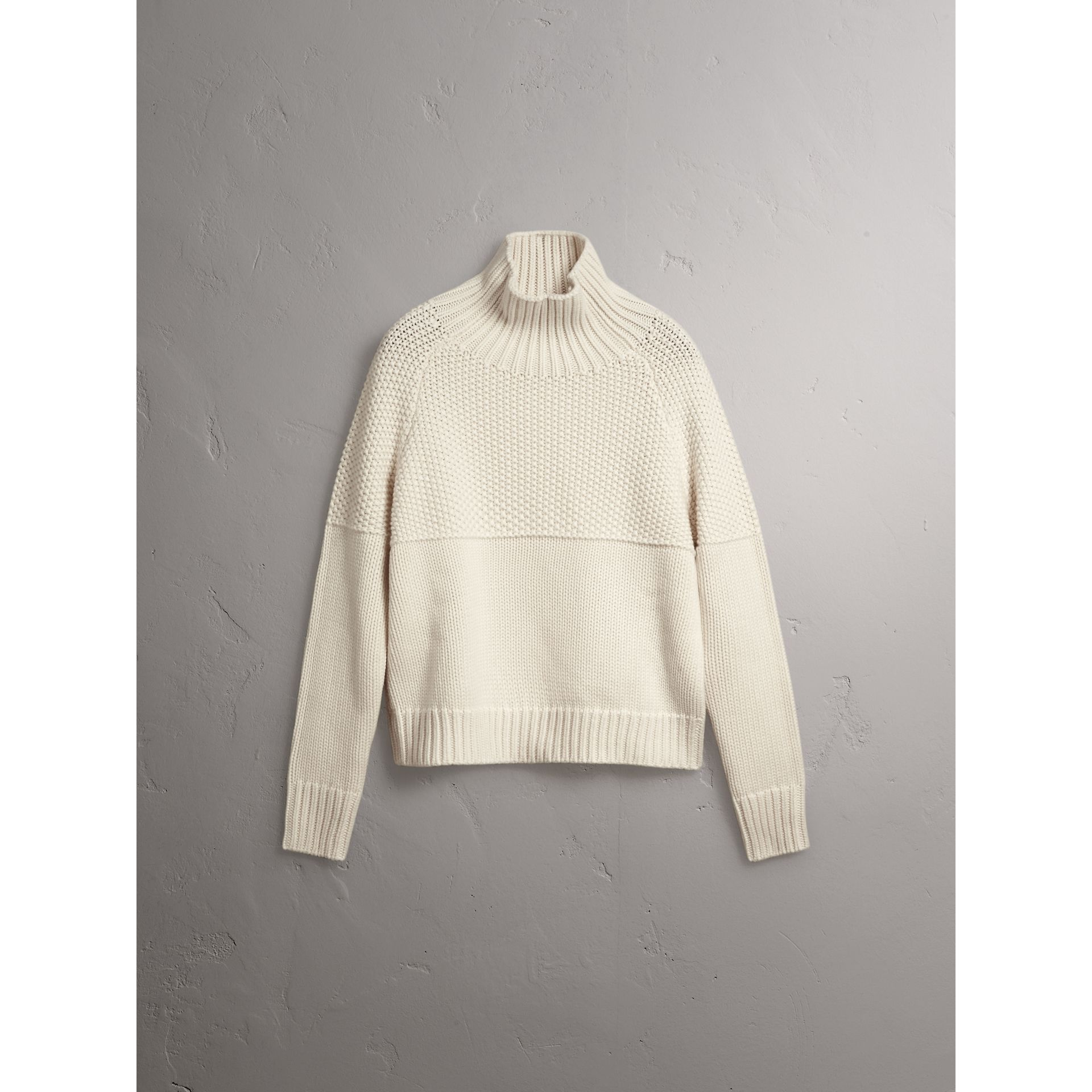 Cashmere Roll-neck Sweater in Natural White - Women | Burberry United Kingdom - gallery image 3