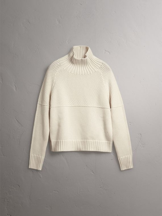 Cashmere Roll-neck Sweater in Natural White - Women | Burberry - cell image 3