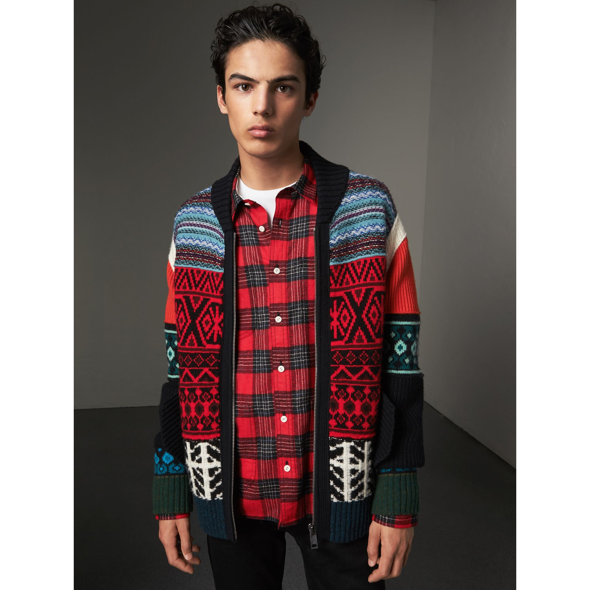 Fair Isle Wool Cashmere Cotton Bomber Jacket in Orange - Men | Burberry Australia - gallery image 1