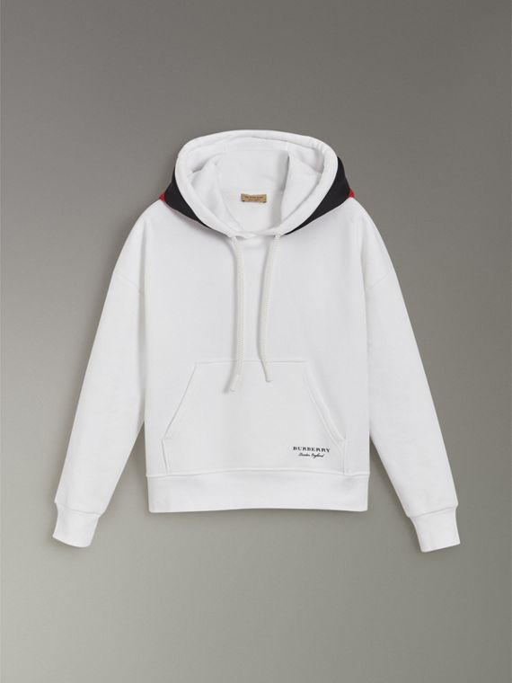Stripe Detail Jersey Hoodie in White - Women | Burberry Hong Kong - cell image 3