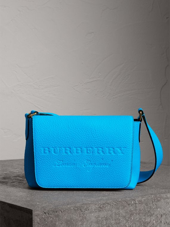 Small Embossed Neon Leather Messenger Bag in Blue