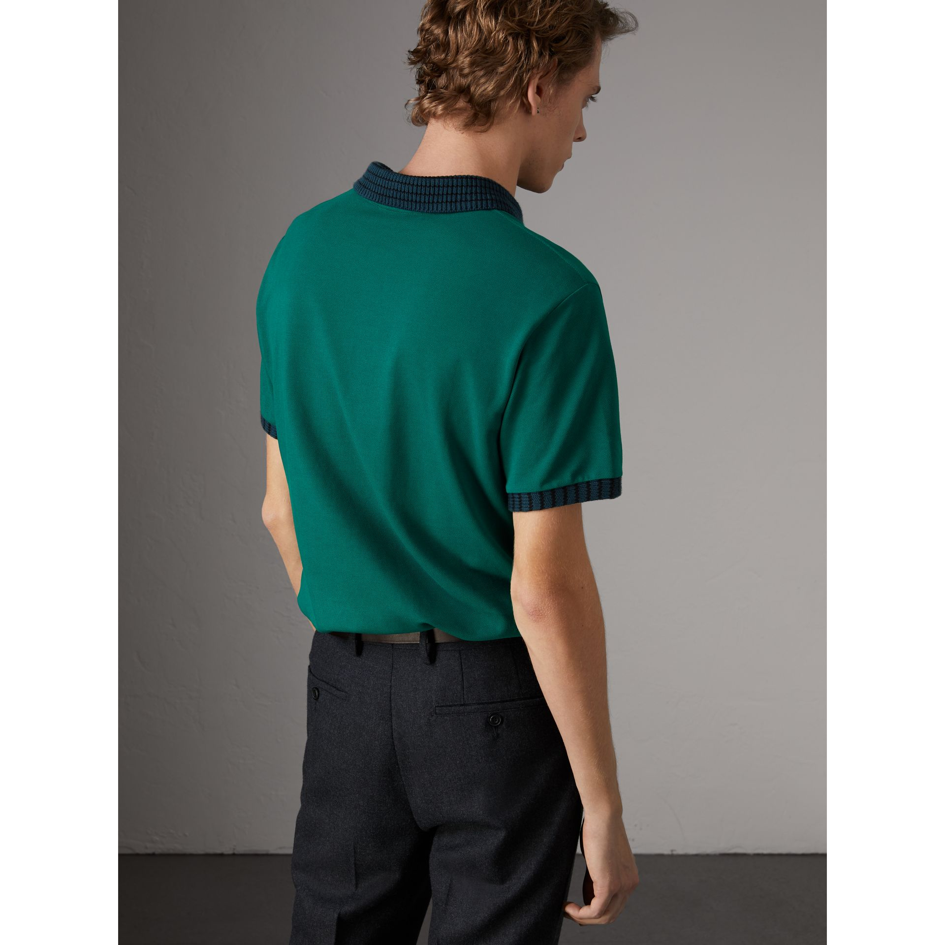 Knitted Detail Cotton Piqué Polo Shirt in Deep Viridian Green - Men | Burberry Singapore - gallery image 2