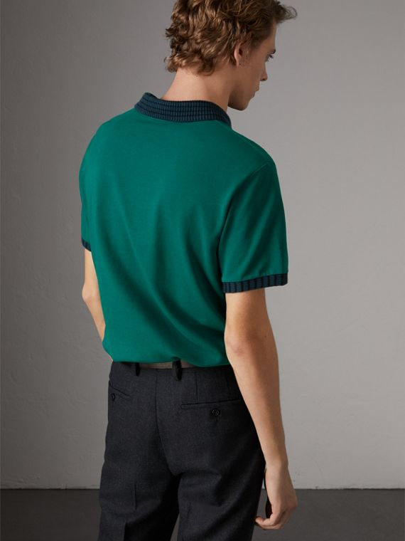 Knitted Detail Cotton Piqué Polo Shirt in Deep Viridian Green - Men | Burberry Singapore - cell image 2