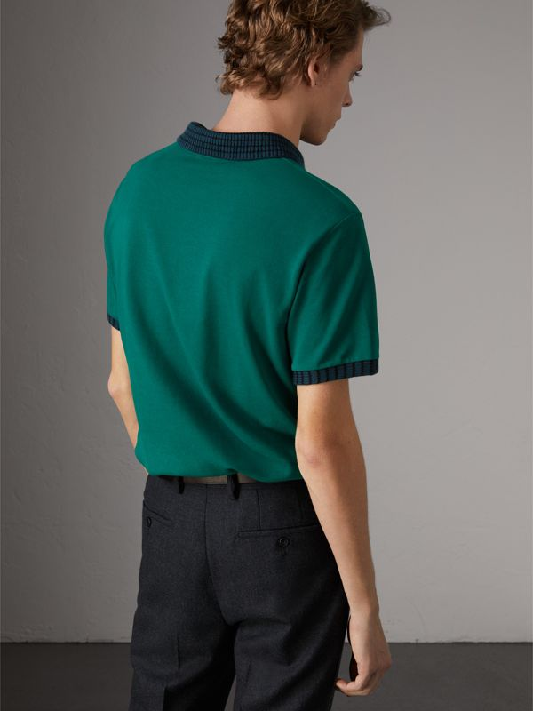 Knitted Detail Cotton Piqué Polo Shirt in Deep Viridian Green - Men | Burberry - cell image 2