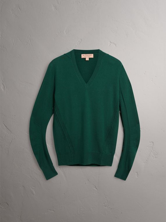 Check Detail Merino Wool V-neck Sweater in Dark Teal - Men | Burberry - cell image 3