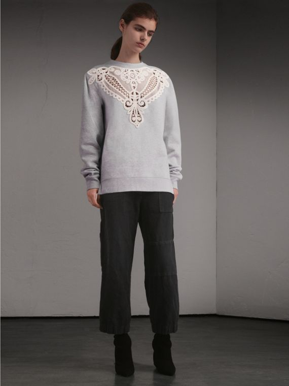 Unisex Lace Cutwork Sweatshirt - Men | Burberry - cell image 2