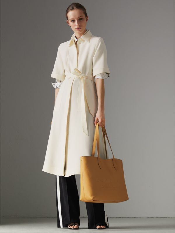 Embossed Leather Tote in Ochre Yellow | Burberry - cell image 2