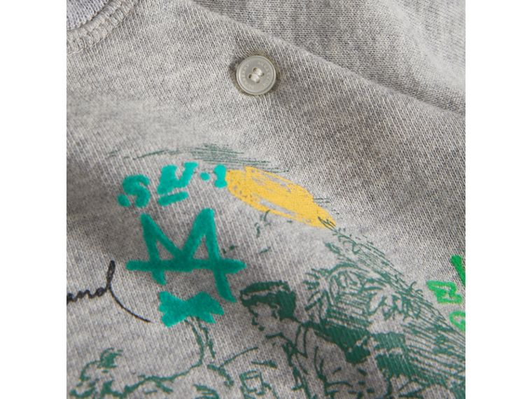 Adventure Motif Cotton Jersey Sweatshirt in Grey Melange | Burberry Singapore - cell image 1