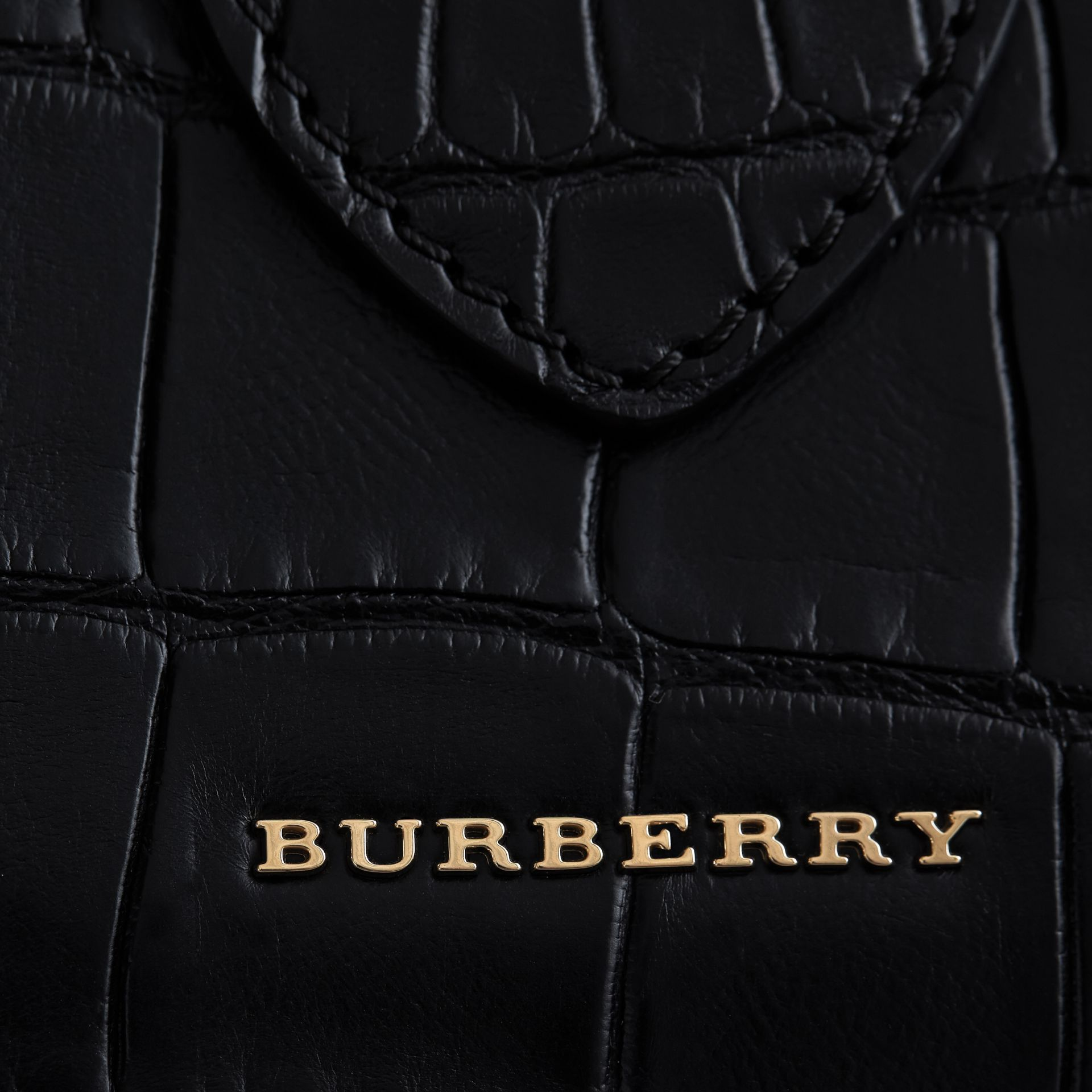 The Medium Buckle Tote in Alligator in Black - Women | Burberry - gallery image 5