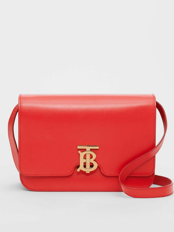 Medium Leather TB Bag in Bright Red