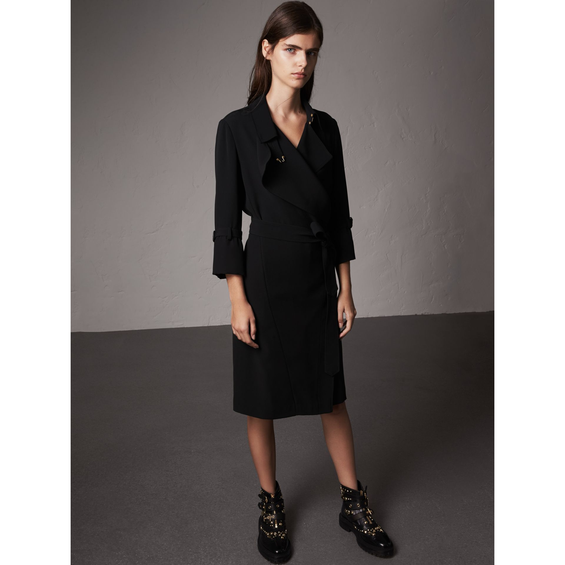 Silk Georgette Trench Wrap Dress in Black - Women | Burberry - gallery image 4