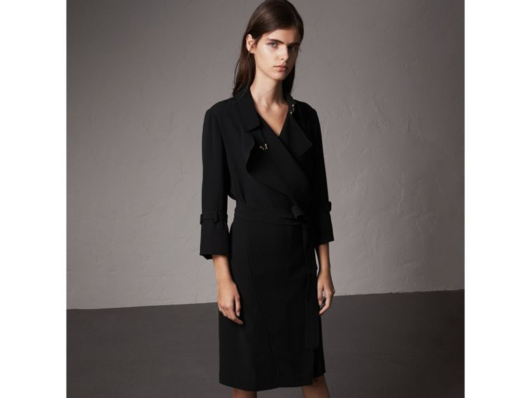 Silk Georgette Trench Wrap Dress in Black - Women | Burberry - cell image 4