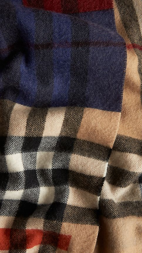 Dark camel check Colour Block Check Cashmere Scarf - Image 5