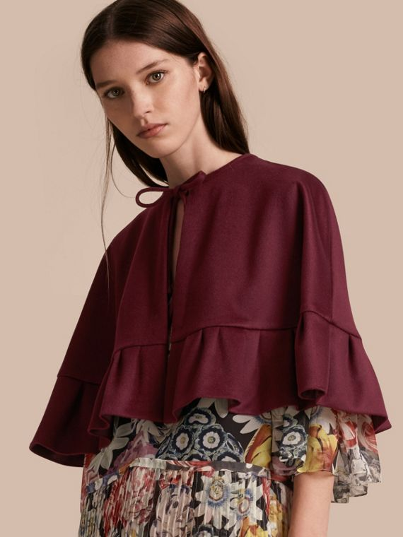 Ruffle Hem Cashmere Cape in Burgundy - Women | Burberry