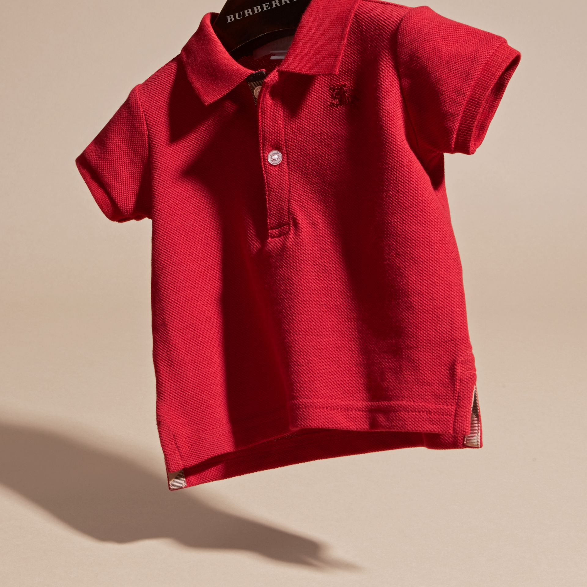 Cotton Piqué Polo Shirt in Military Red | Burberry - gallery image 3