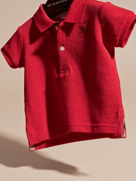 Cotton Piqué Polo Shirt in Military Red | Burberry Singapore - cell image 2