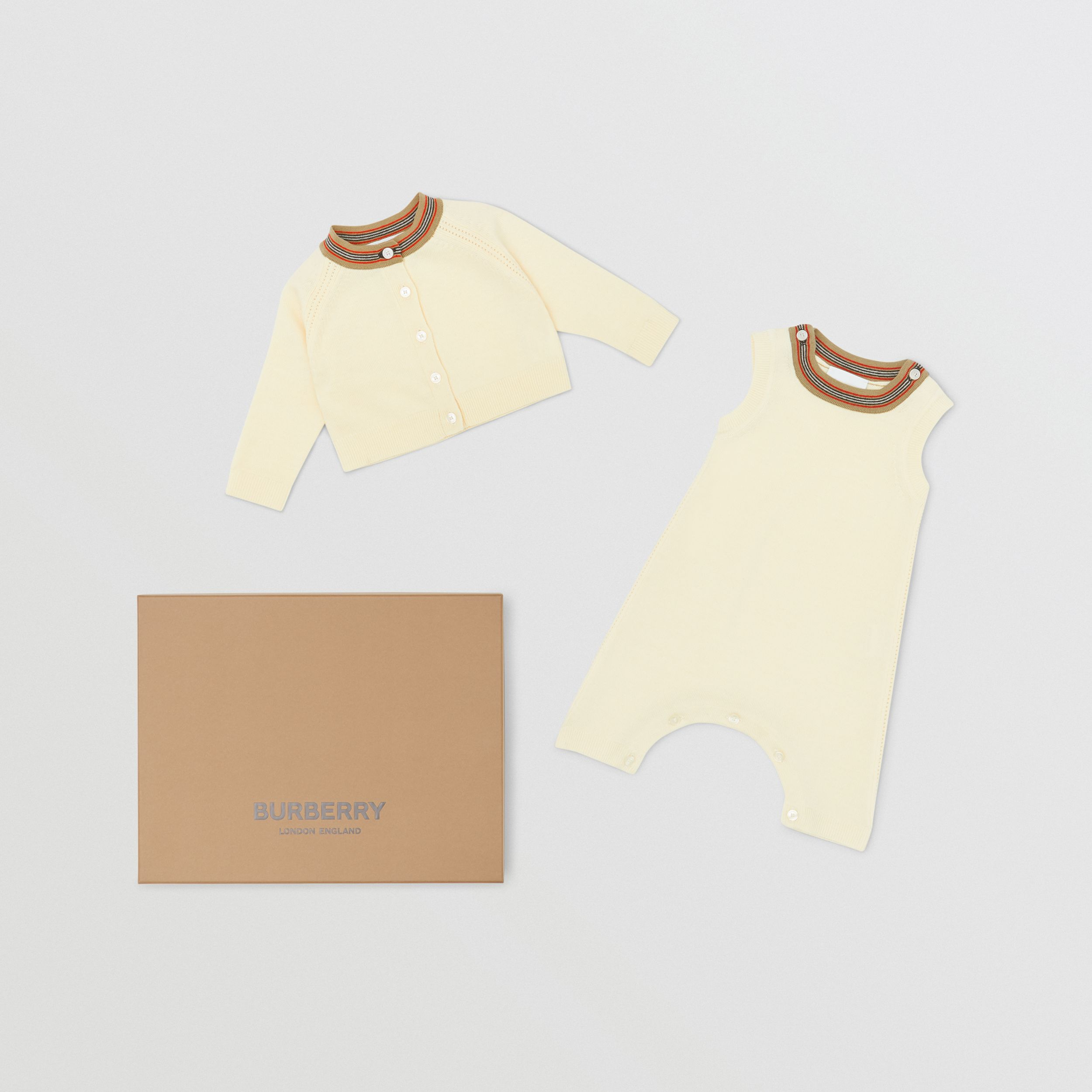 Icon Stripe Trim Merino Wool Two-piece Baby Gift Set in Ivory - Children | Burberry - 1