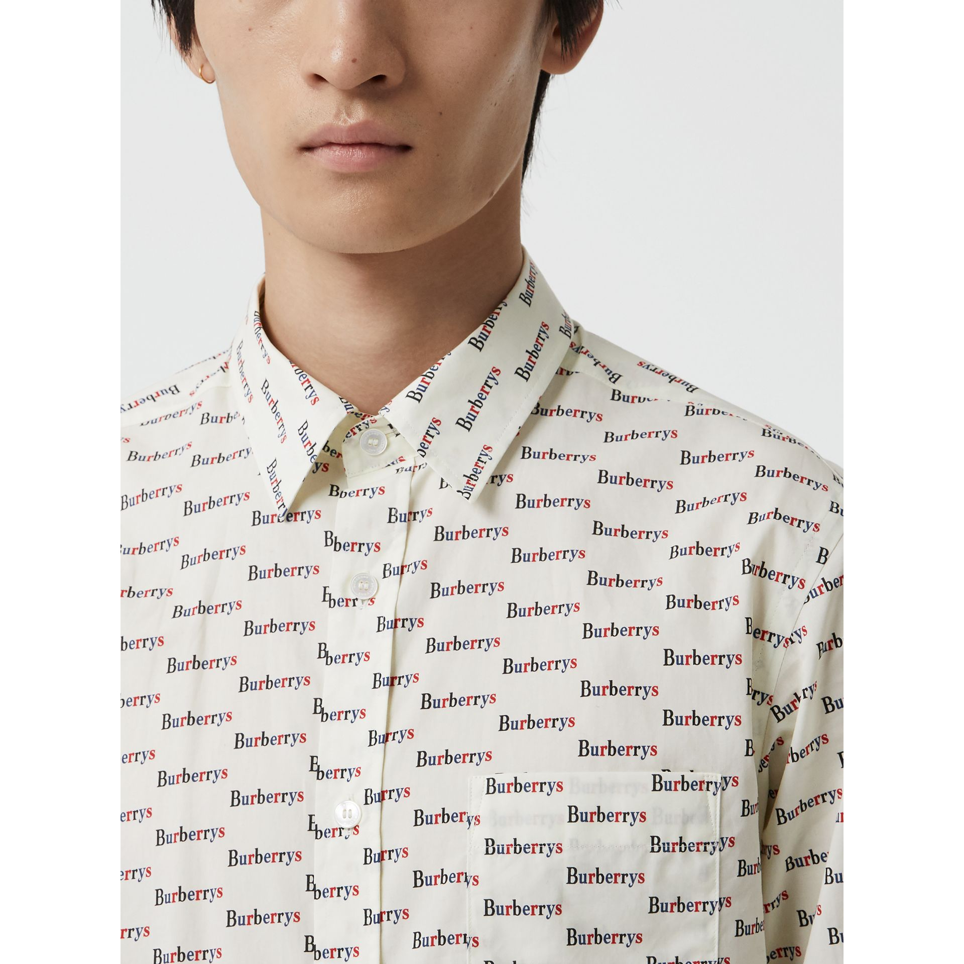 Logo Print Cotton Shirt in White - Men | Burberry United States - gallery image 1