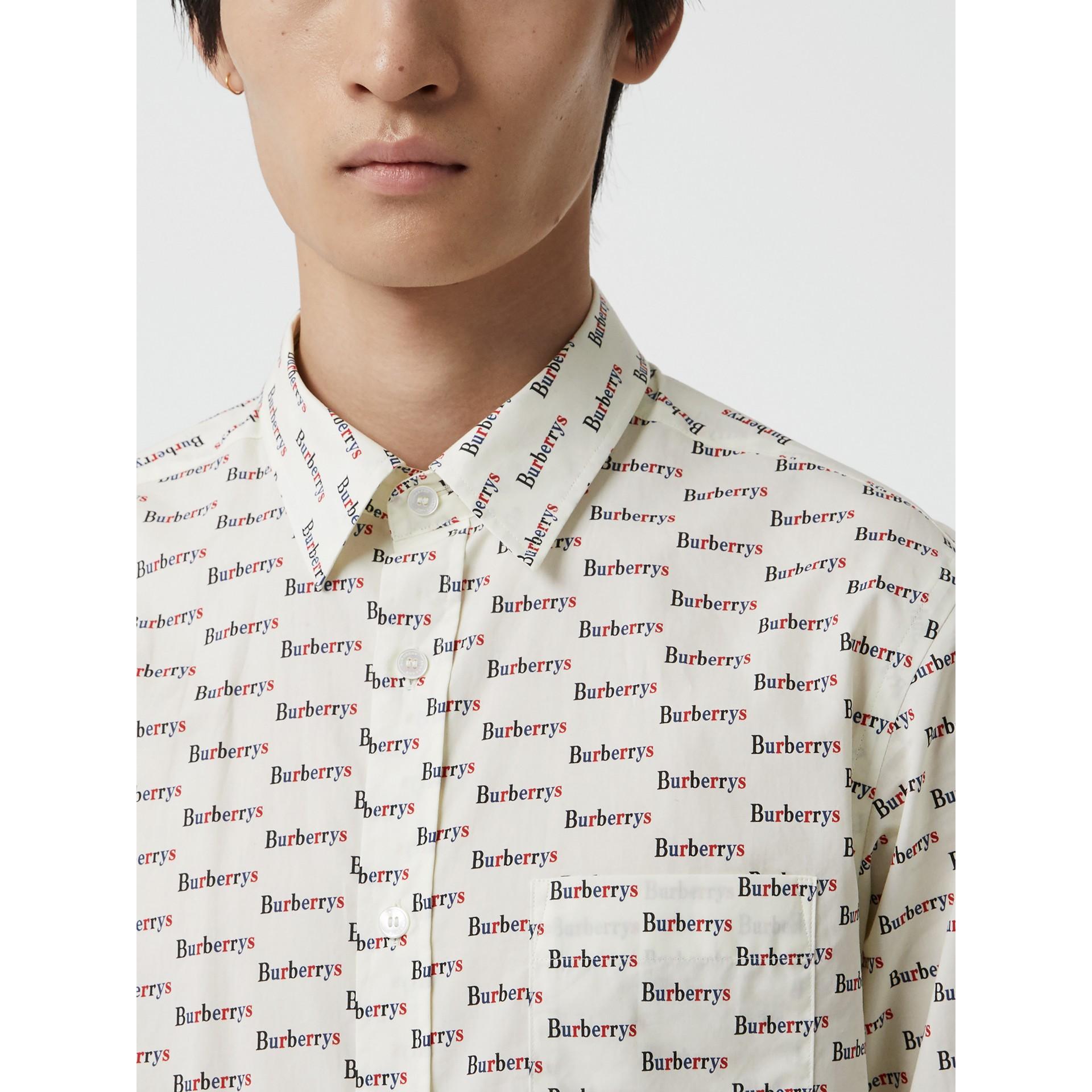 Logo Print Cotton Shirt in White - Men | Burberry United Kingdom - gallery image 1