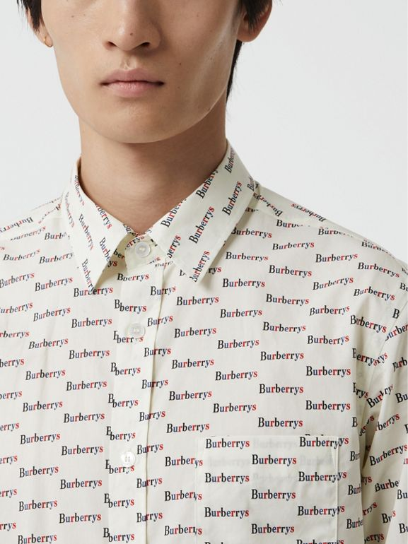Logo Print Cotton Shirt in White - Men | Burberry United States - cell image 1