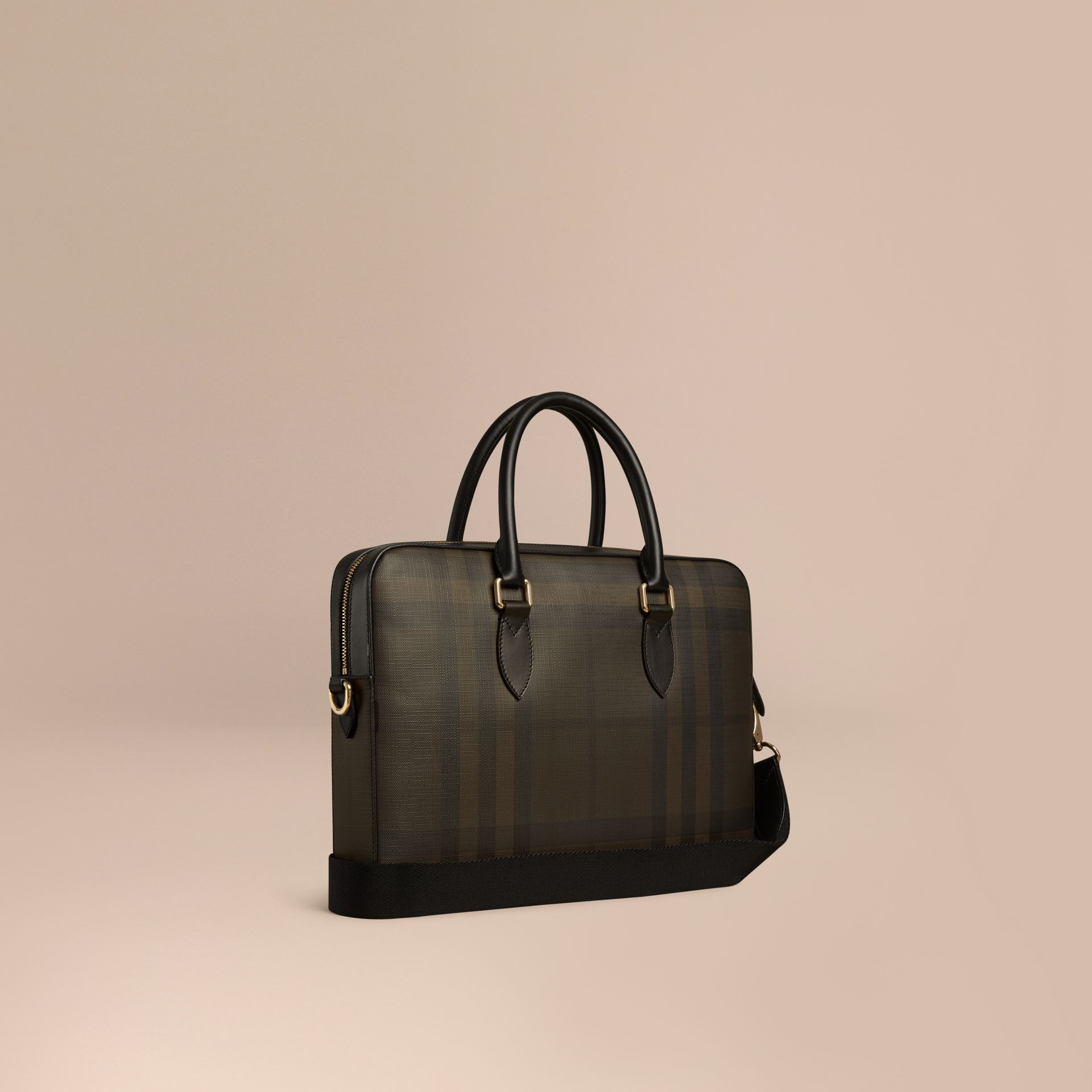 Chocolate/black Medium Leather Trim London Check Briefcase Chocolate/black - gallery image 1