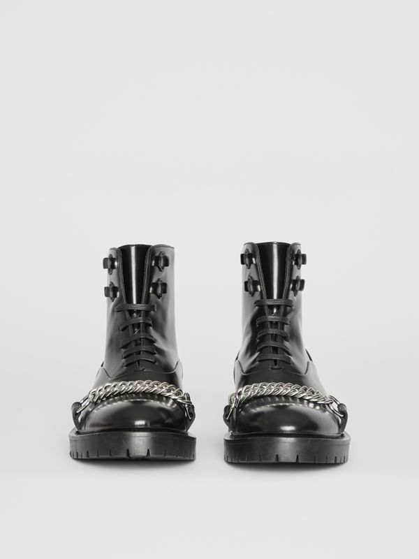 Link Detail Leather Lace-up Ankle Boots in Black - Women | Burberry United Kingdom - cell image 3