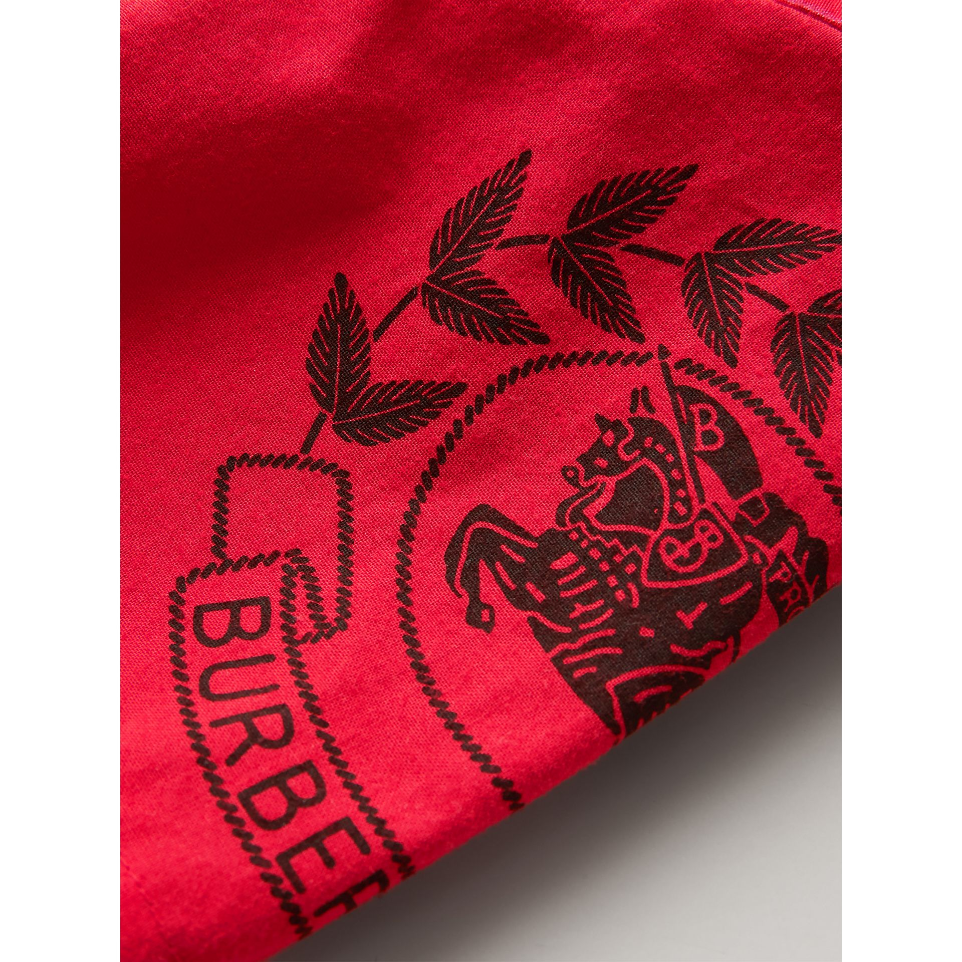 Short-sleeve Archive Logo Detail Check Cotton Shirt in Bright Military Red | Burberry United States - gallery image 1