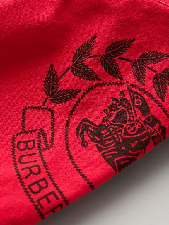 Short-sleeve Archive Logo Detail Check Cotton Shirt in Bright Military Red | Burberry - cell image 1