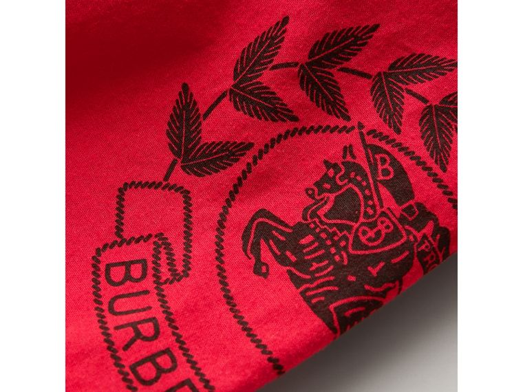 Short-sleeve Archive Logo Detail Check Cotton Shirt in Bright Military Red - Boy | Burberry Canada - cell image 1