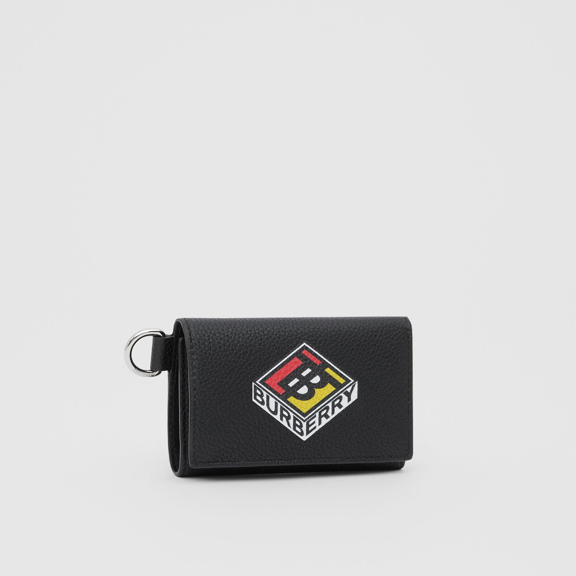 Small Logo Graphic Grainy Leather Folding Wallet in Black - Men | Burberry United Kingdom - gallery image 4