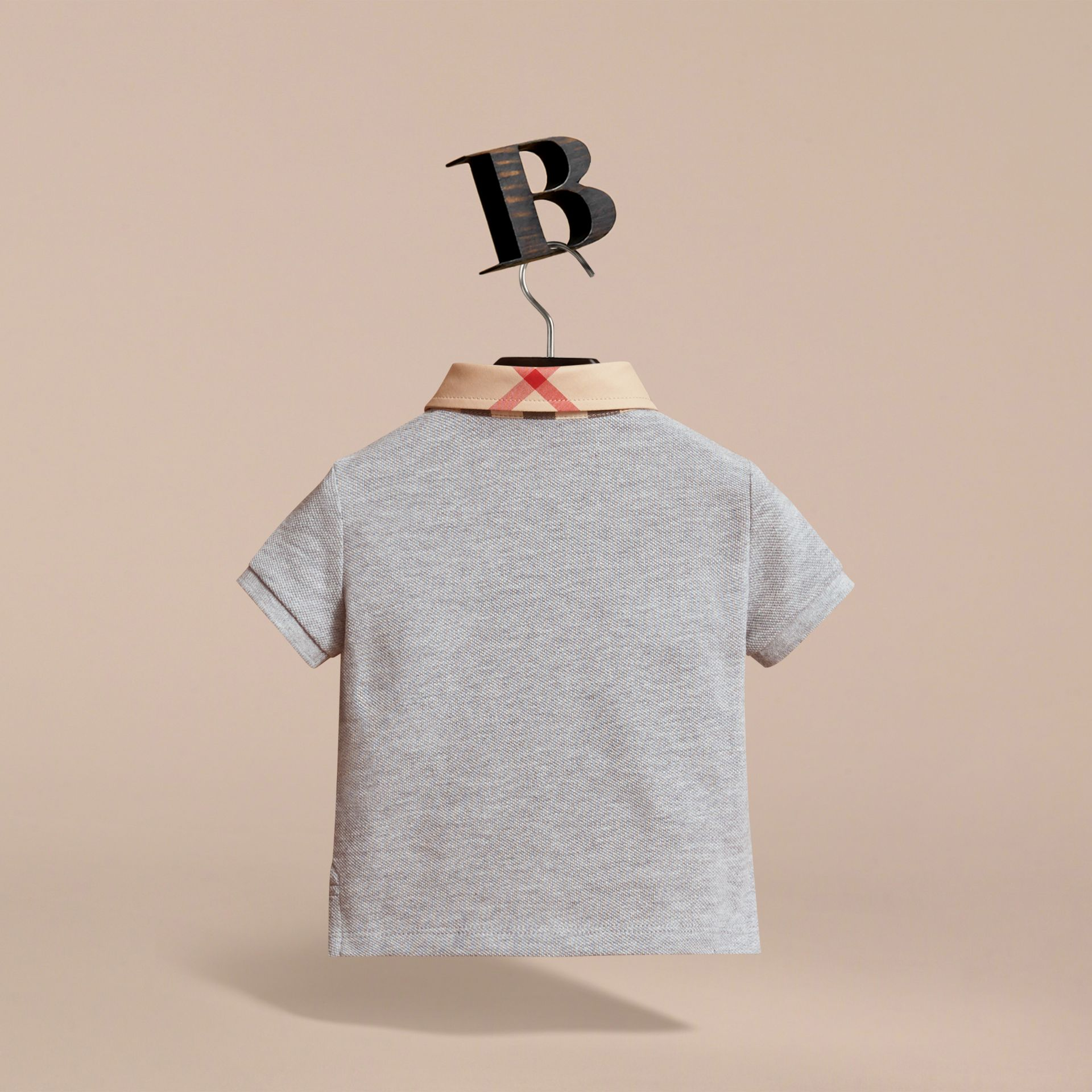 Check Collar Cotton Polo Shirt in Pale Grey Melange | Burberry - gallery image 4