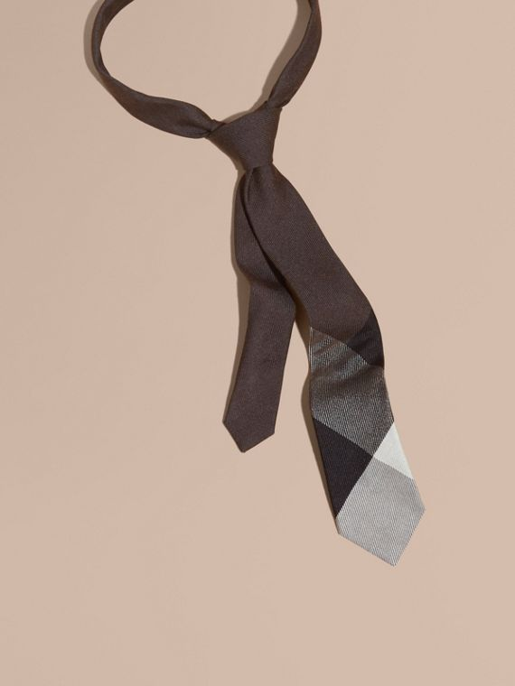 Modern Cut Check Cashmere Silk Tie Ochre Brown