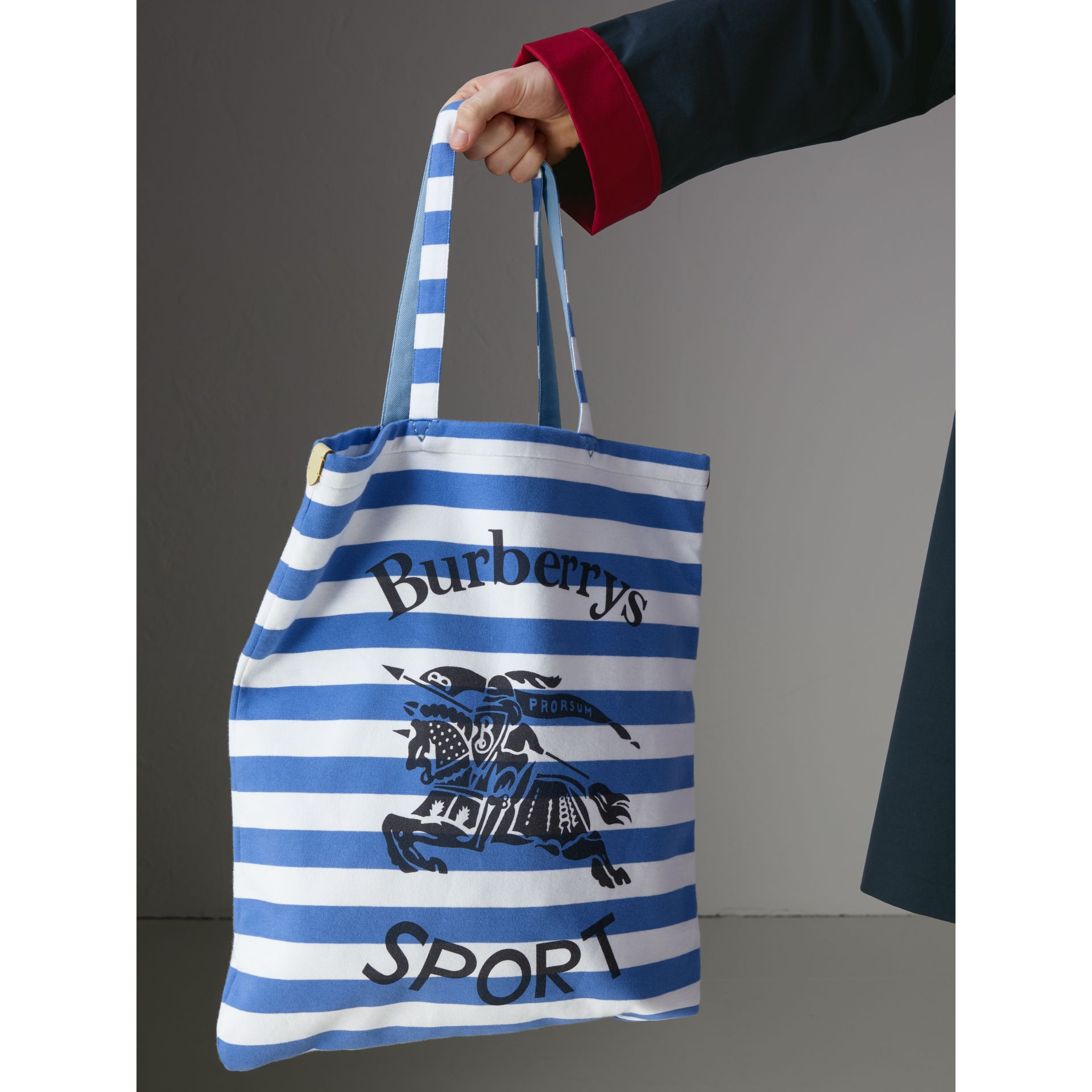 Large Archive Logo Striped Jersey Shopper in Sky Blue/white | Burberry - gallery image 5