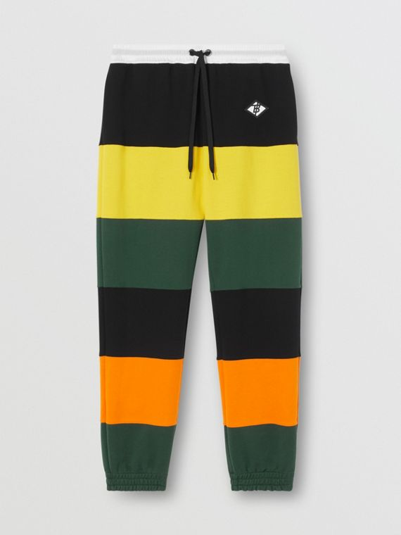 Logo Graphic Colour Block Cotton Trackpants in Canary Yellow