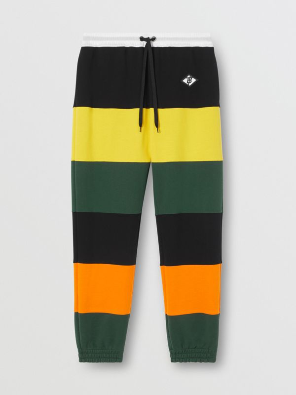 Logo Graphic Colour Block Cotton Trackpants in Canary Yellow - Men | Burberry Hong Kong S.A.R - cell image 3