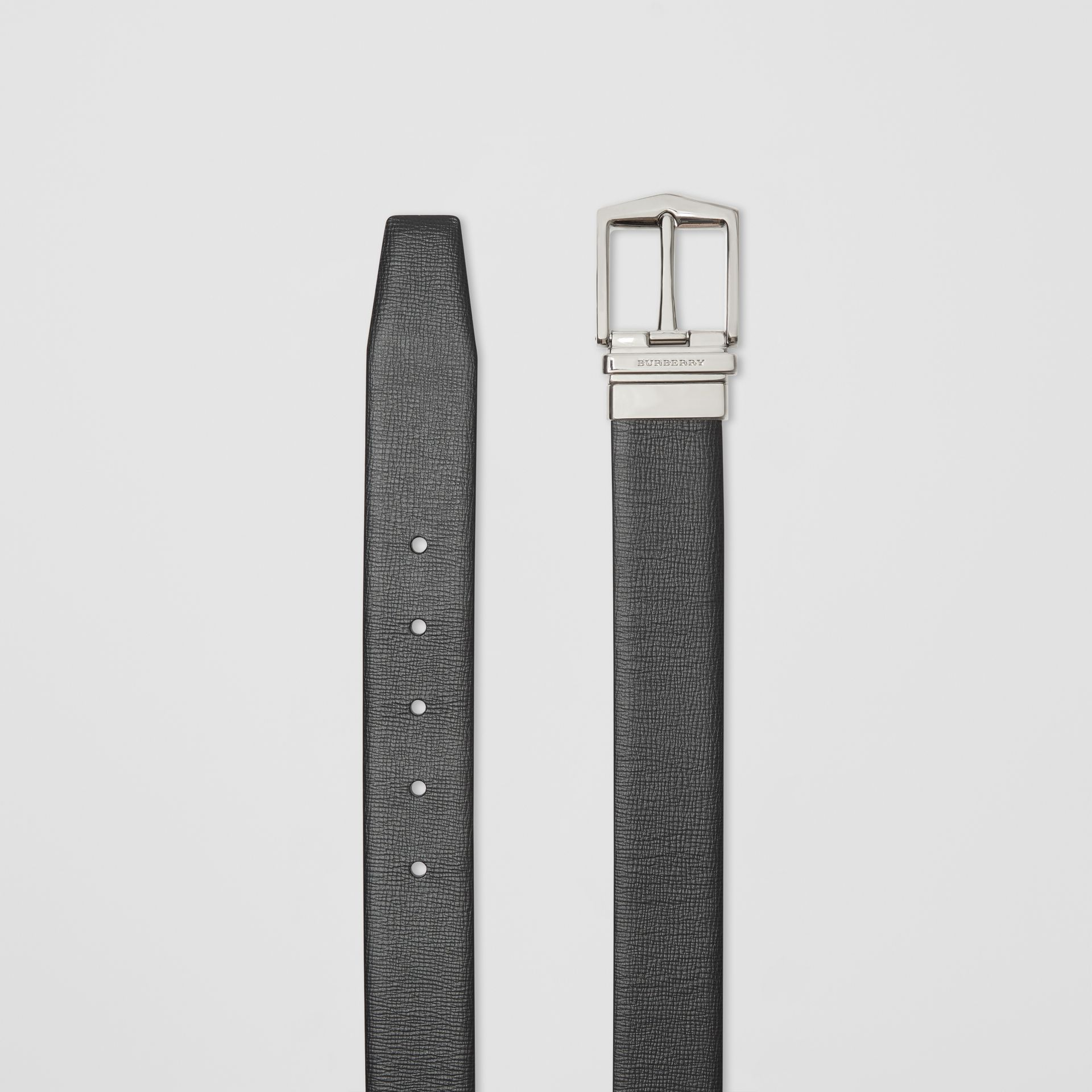 Reversible London Leather Belt in Black/chocolate - Men | Burberry - gallery image 6