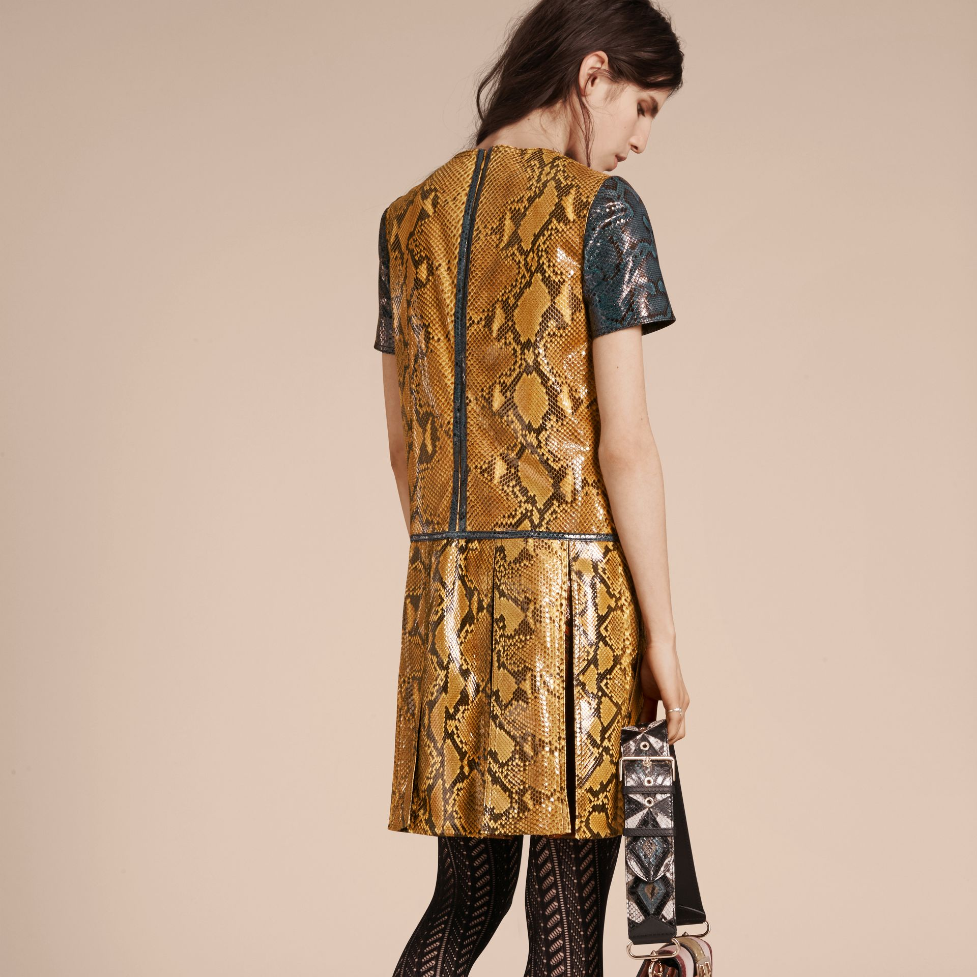 Amber yellow Patchwork Python T-shirt Dress - gallery image 3