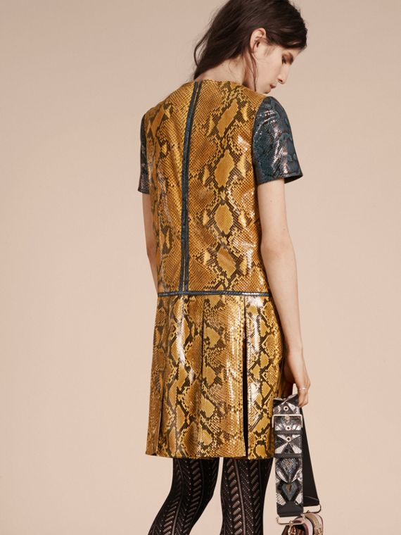 Amber yellow Patchwork Python T-shirt Dress - cell image 2