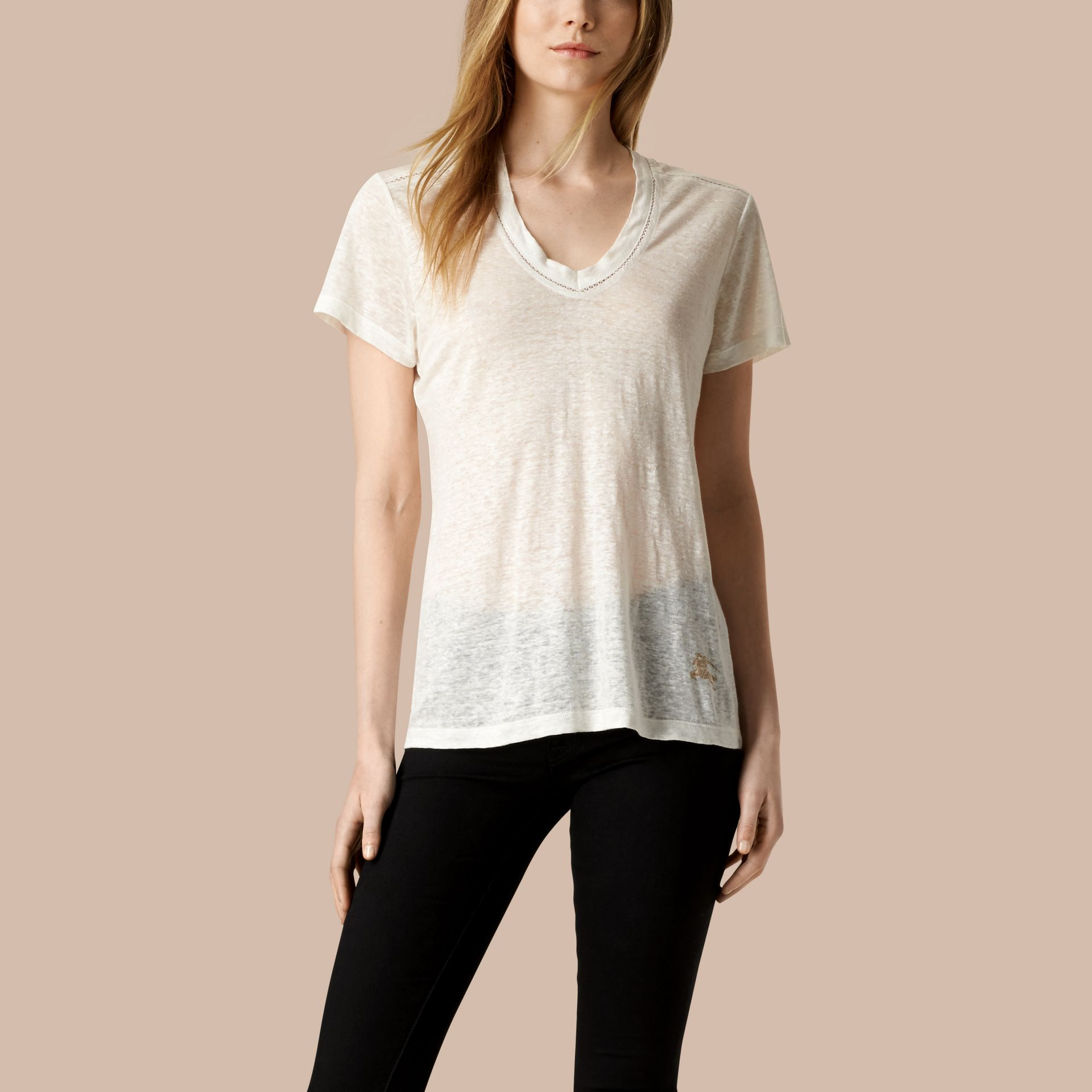 White V-Neck Open Stitch Detail Linen T-Shirt White - gallery image 1