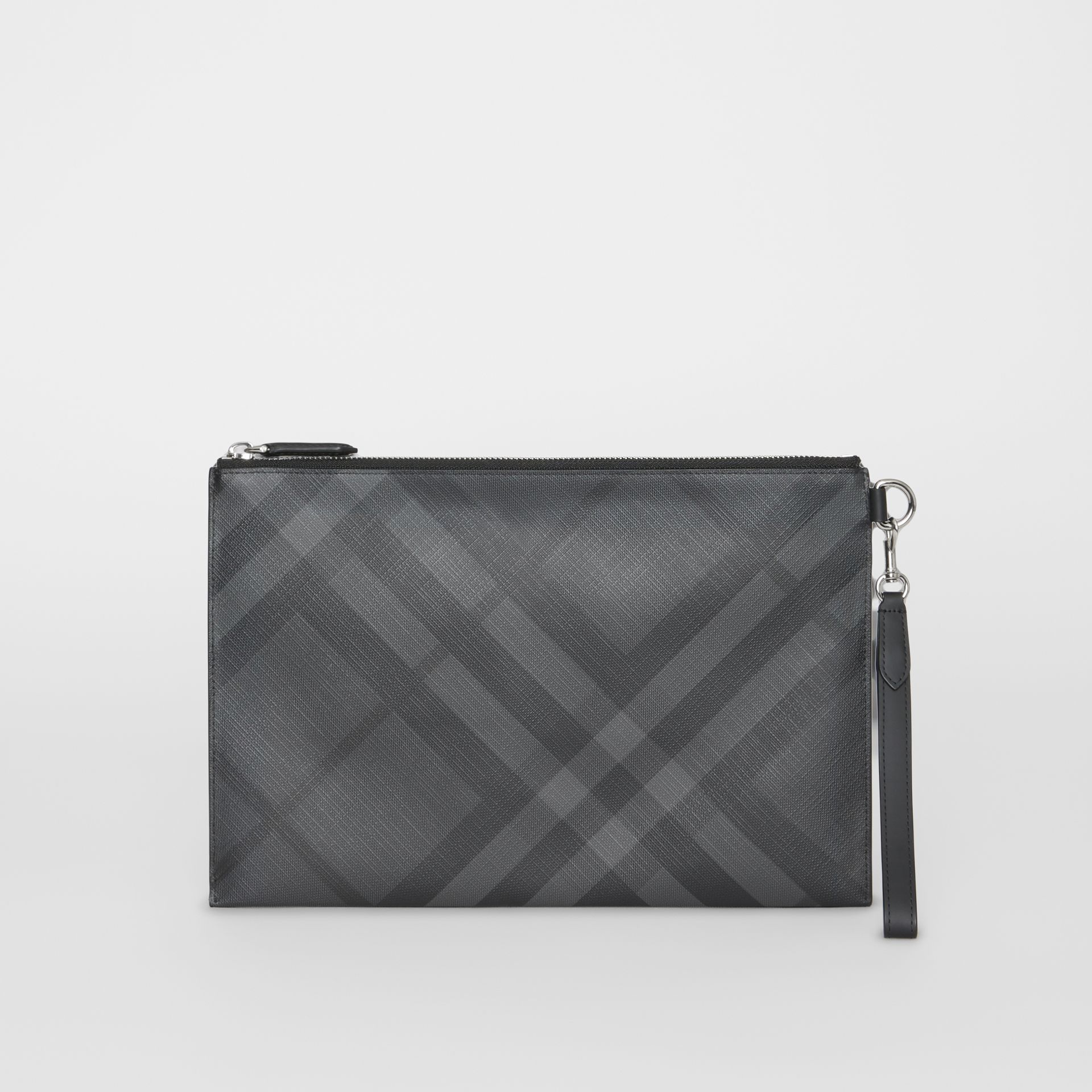 London Check Zip Pouch in Charcoal/black | Burberry Australia - gallery image 0