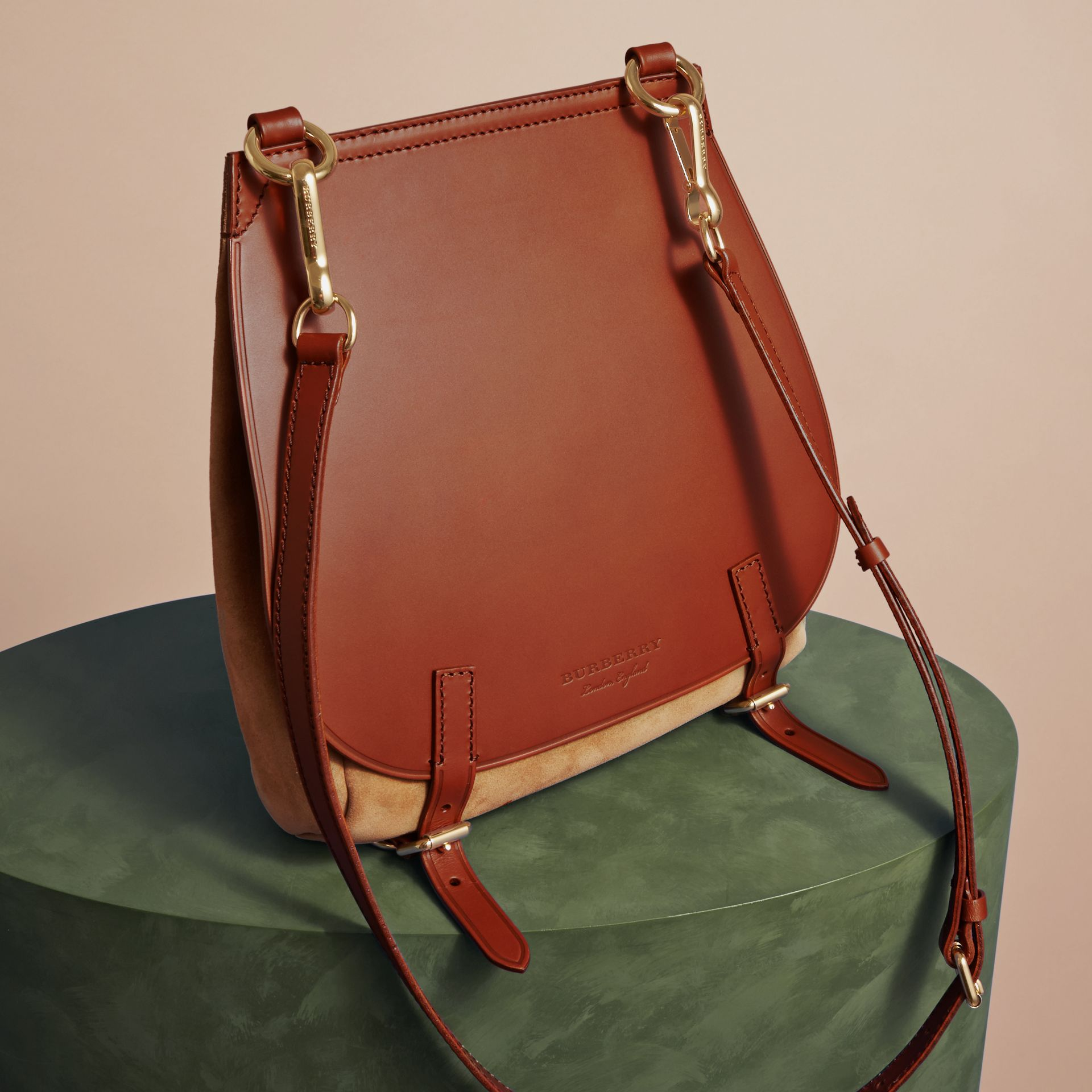 The Small Bridle Bag in Leather and Suede in Tan - Men | Burberry - gallery image 7