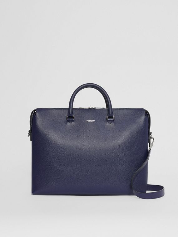 Triple Stud Grainy Leather Briefcase in Regency Blue