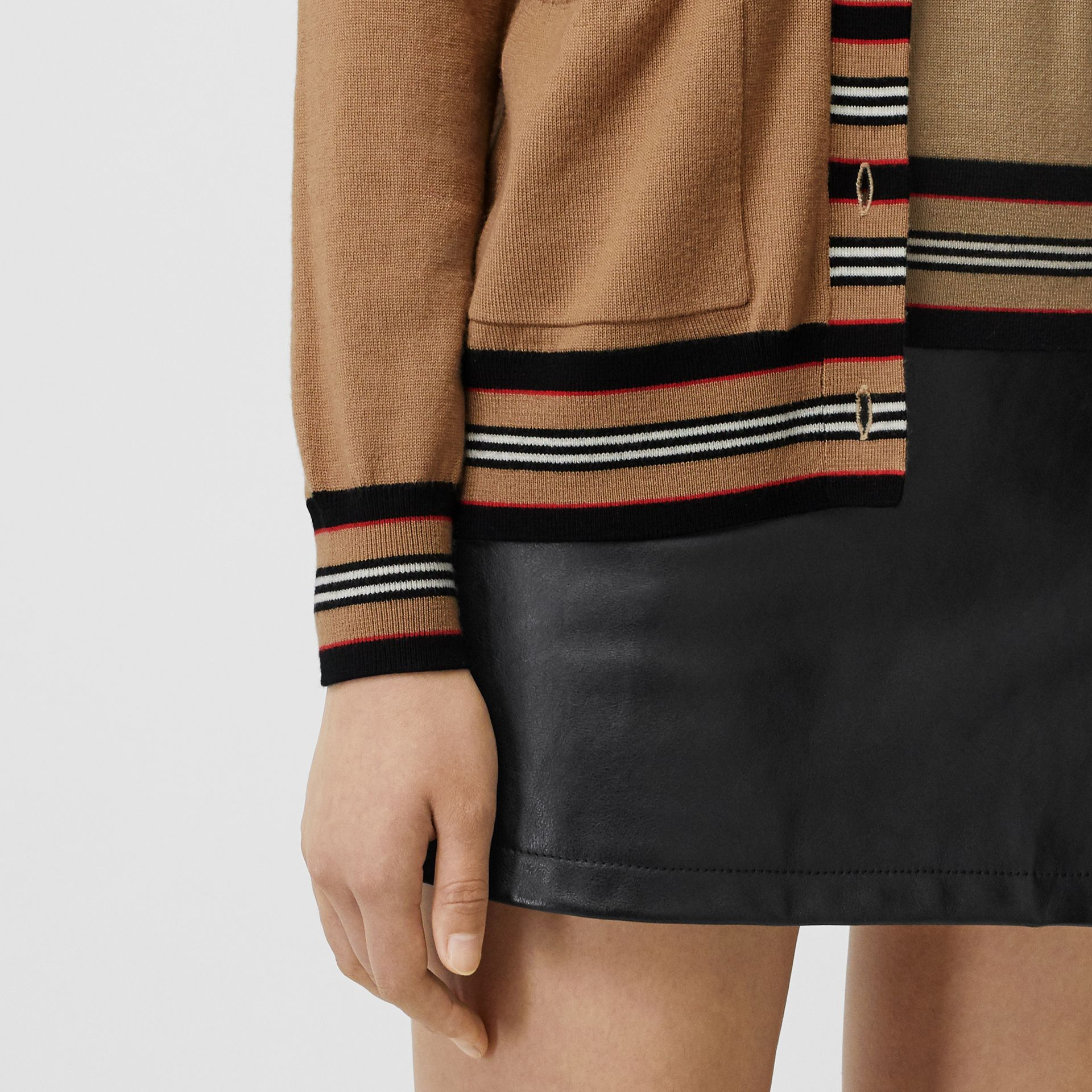 Icon Stripe Detail Merino Wool Cardigan in Camel - Women | Burberry United Kingdom - gallery image 1