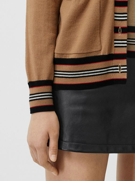 Icon Stripe Detail Merino Wool Cardigan in Camel - Women | Burberry Canada - cell image 1
