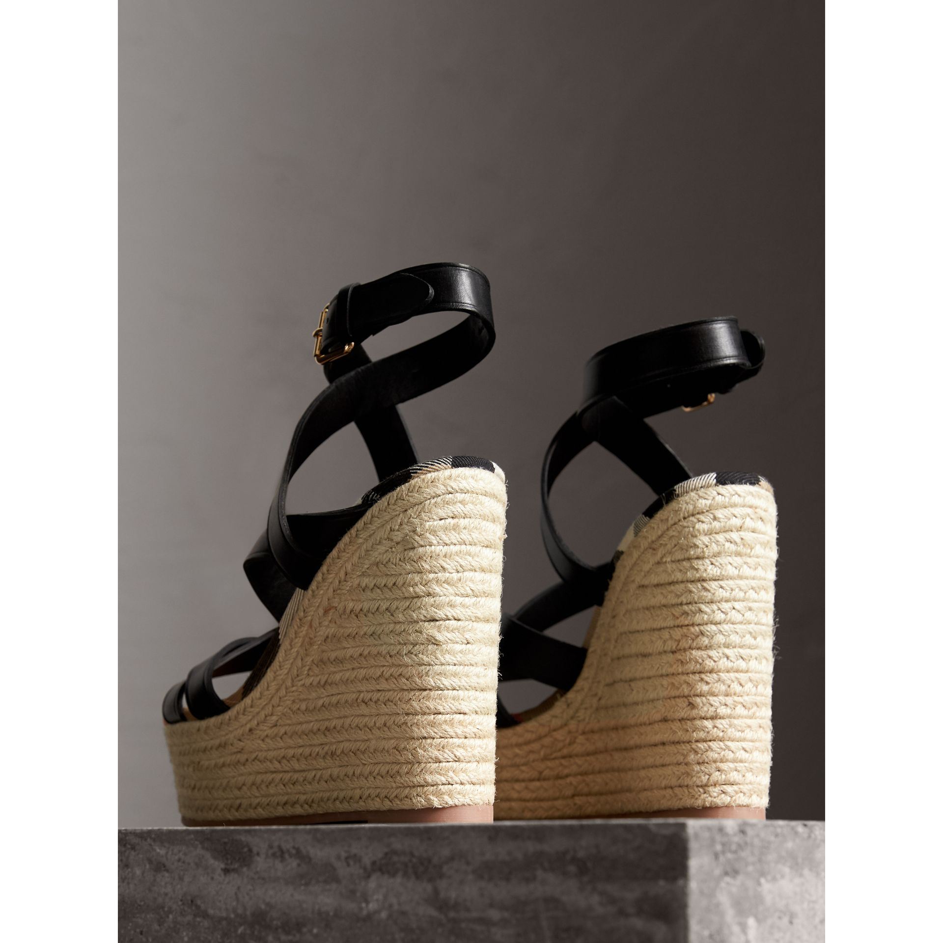 Leather Platform Espadrille Wedge Sandals in Black - Women | Burberry - gallery image 4